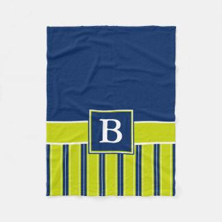 Monograma da listra dos azuis marinhos e do verde cobertor de lã