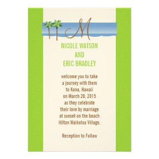 Monograma da palmeira dos convites do casamento do