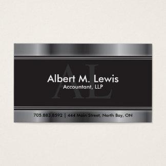 Monograma da prata do cartão da nomeação da