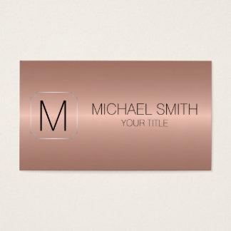 Monograma de aço inoxidável luxuoso de bronze #2 cartão de visitas