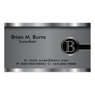 Monograma de aço preto executivo cartão de visita
