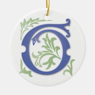 Monograma de G da flor de lis Ornamento De Cerâmica Redondo