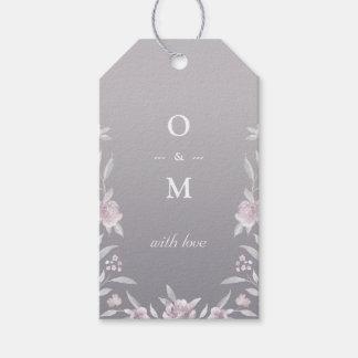 Monograma de prata floral elegante do casamento do etiqueta para presente