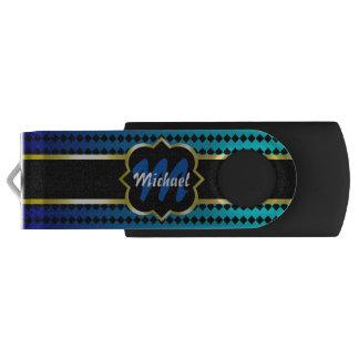 Monograma de Quatrefoil e teste padrão azul dos Pen Drive Giratório