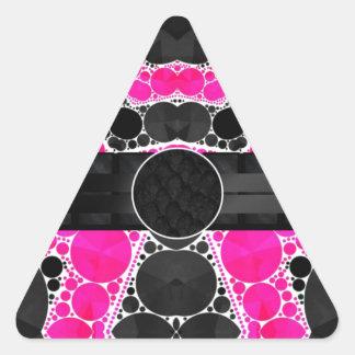 Monograma de seda cor-de-rosa fluorescente adesivo triangular