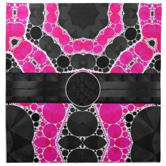 Monograma de seda cor-de-rosa fluorescente guardanapo impresso