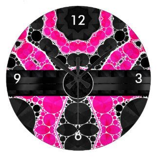 Monograma de seda cor-de-rosa fluorescente relógio de parede