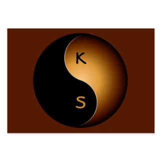 monograma de yang do yin - caramelo cartao de visita
