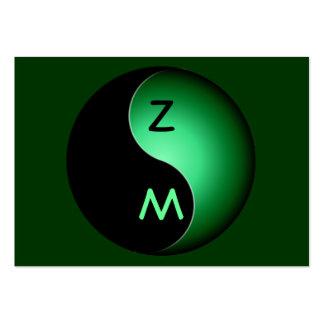 monograma de yang do yin - verde cartão de visita grande