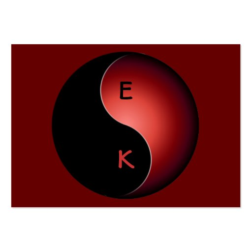 monograma de yang do yin - vermelho modelos cartoes de visita