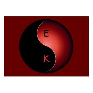 monograma de yang do yin - vermelho cartão de visita grande