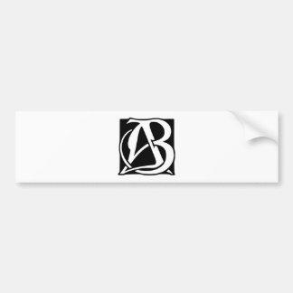 Monograma do AB com fundo preto Adesivo De Para-choque