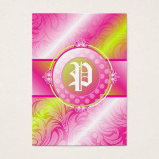 monograma do açúcar do limão 311-Pink Cartão De Visitas