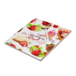 Monograma do amor dos doces da morango da aguarela