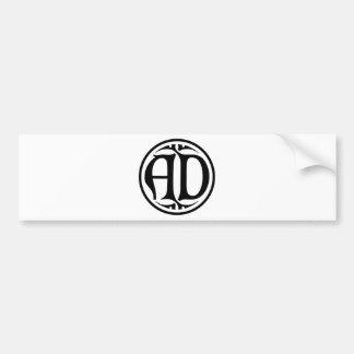 Monograma do ANÚNCIO - moeda preta estilo gótico Adesivo
