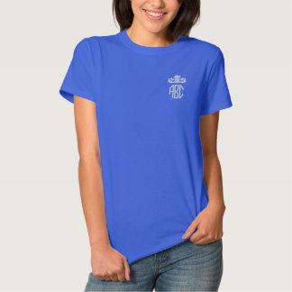 Monograma do branco e dos azuis marinhos camiseta polo bordada feminina