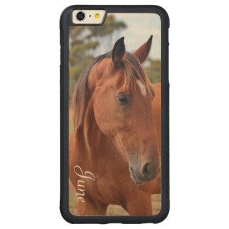 Monograma do cavalo capa bumper para iPhone 6 plus de bordo, carved