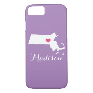 Monograma do costume do Lilac do coração de Capa iPhone 7