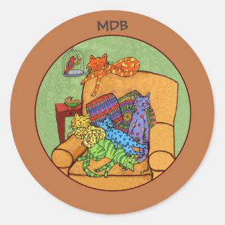 Monograma do costume do tempo da sesta do gato adesivo redondo