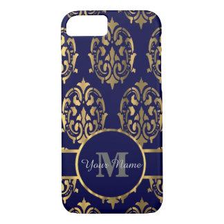 Monograma do damasco do marinho e do ouro capa iPhone 7
