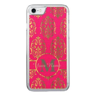 Monograma do damasco do rosa quente e do ouro capa iPhone 7 carved