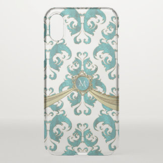 Monograma do damasco do vintage do verde azul e do capa para iPhone x