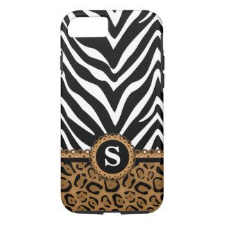Monograma do impressão da zebra e do leopardo capa iPhone 7