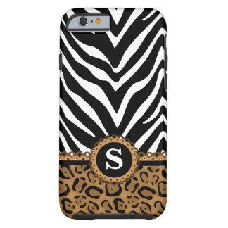 Monograma do impressão da zebra e do leopardo capa tough para iPhone 6