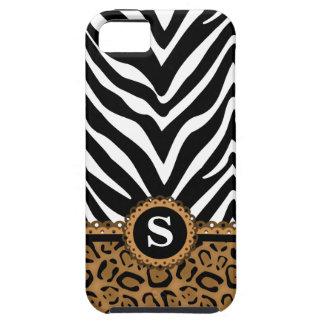 Monograma do impressão da zebra e do leopardo capas para iPhone 5