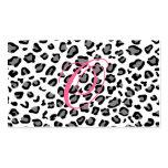 monograma do impressão do leopardo cartoes de visitas