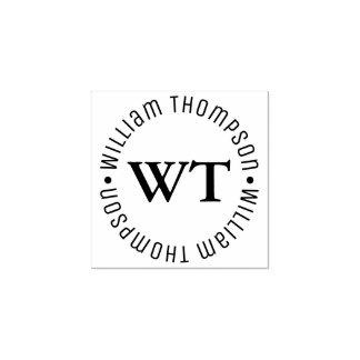 monograma do logotipo do círculo (nome & iniciais) carimbo de borracha