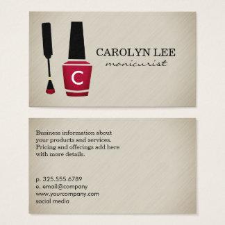 Monograma do Manicure do verniz para as unhas Cartão De Visitas