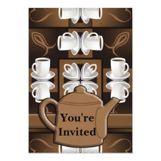 Monograma do mosaico do café do café do café convite 12.7 x 17.78cm