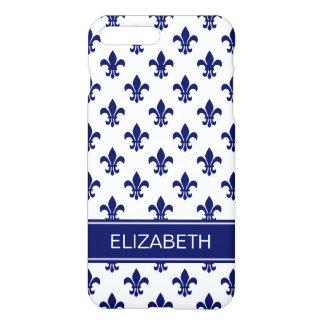 Monograma do nome do marinho da flor de lis do capa iPhone 7 plus