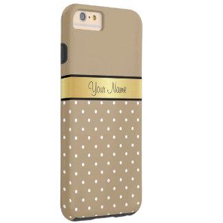 Monograma do ouro. Bolinhas chiques do branco de Capas iPhone 6 Plus Tough