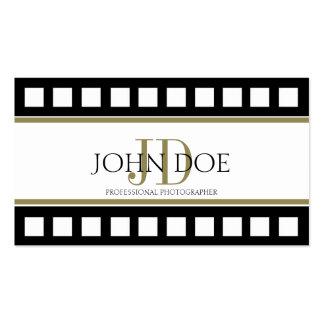 Monograma do ouro do filme do preto da fotografia  modelos cartoes de visitas