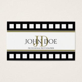 Monograma do ouro do filme do preto da fotografia cartão de visitas