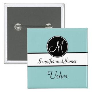 Monograma do preto azul que Wedding o botão de Ush Bóton Quadrado 5.08cm