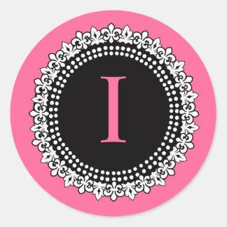 Monograma do rosa quente mim etiqueta do casamento adesivo