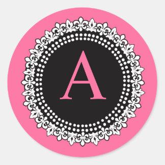 Monograma do rosa quente uma etiqueta do casamento adesivo