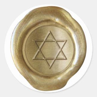Monograma do selo da cera - ouro - estrela de adesivos em formato redondos