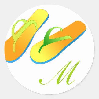 Monograma dos chinelos das etiquetas do favor do adesivo redondo