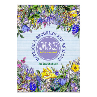 Monograma dos Wildflowers da festa de noivado Convite 12.7 X 17.78cm
