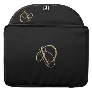 Monograma dourado da inicial D Bolsa MacBook Pro