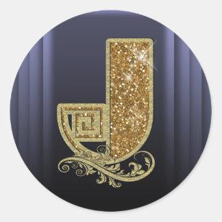 Monograma dourado J de GGMJ Adesivo