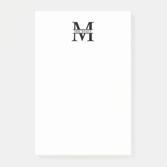 Monograma e nome personalizados bloco post-it