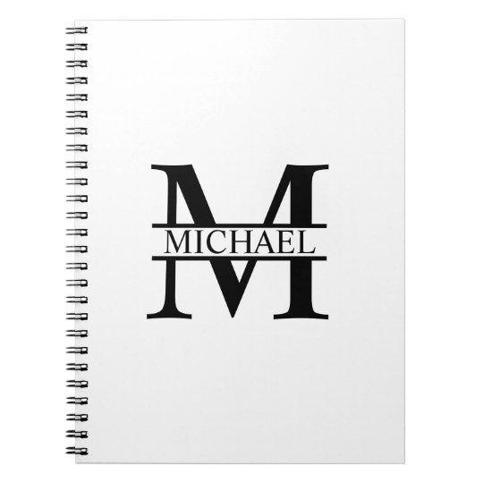 Monograma e nome personalizados cadernos espiral