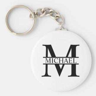 Monograma e nome personalizados chaveiro