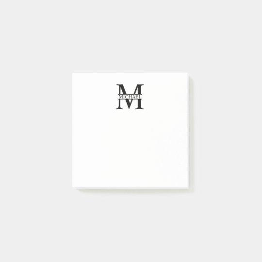 Monograma e nome personalizados post-it note