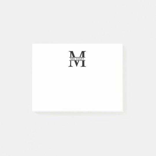 Monograma e nome personalizados post-it notes